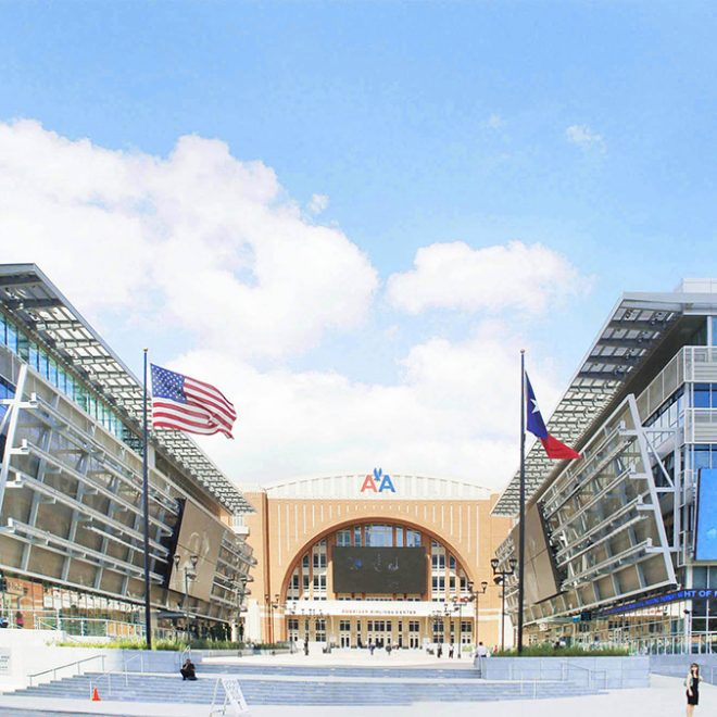 entry forecourt to the American Airlines Center
